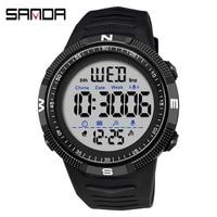 SANDA Luxus Mode Digitale Uhr Männer Stoßfest Wasserdicht Dual Armbanduhr Countdown Alarm Uhr Herren Uhren 50M Wasserdichte