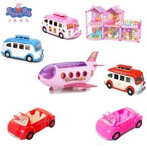 Peppa Pig-figuras de acción de Peppa Pig para niños, modelo de habitación de avión, Camping, coche de comedor, George, familia, amigos, regalo para niños