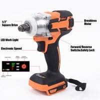 Novo 18 v 520nm 1/2 \ electric brushelétrica sem escova chave de impacto chave de soquete recarregável ferramenta elétrica sem fio sem bateria para makita|Chaves elétricas|   -