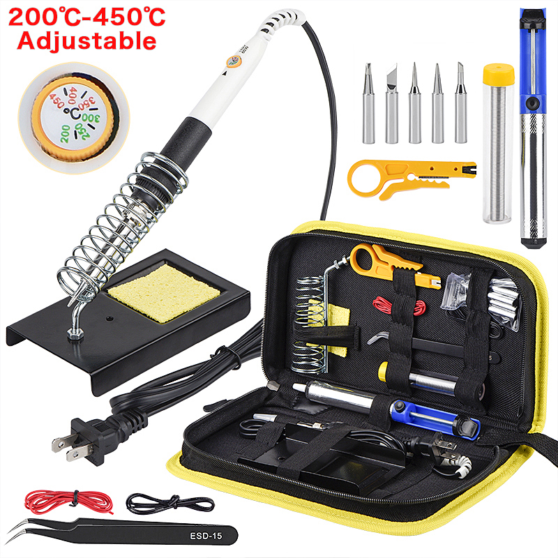 JCD 60W 220V/110V Soldering Iron EU/US/UK PLUG Adjustable Temperature Welding Solder Iron Kit With Soldering Tips 908 Hot Sale