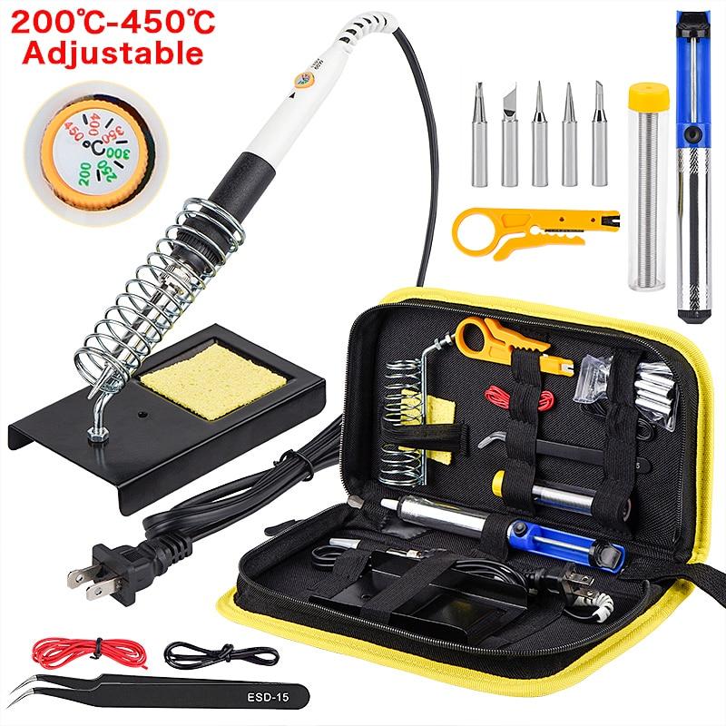 JCD 60W 220V 110V soldering iron EU US UK PLUG adjustable temperature welding solder iron kit with soldering tips 908 hot sale