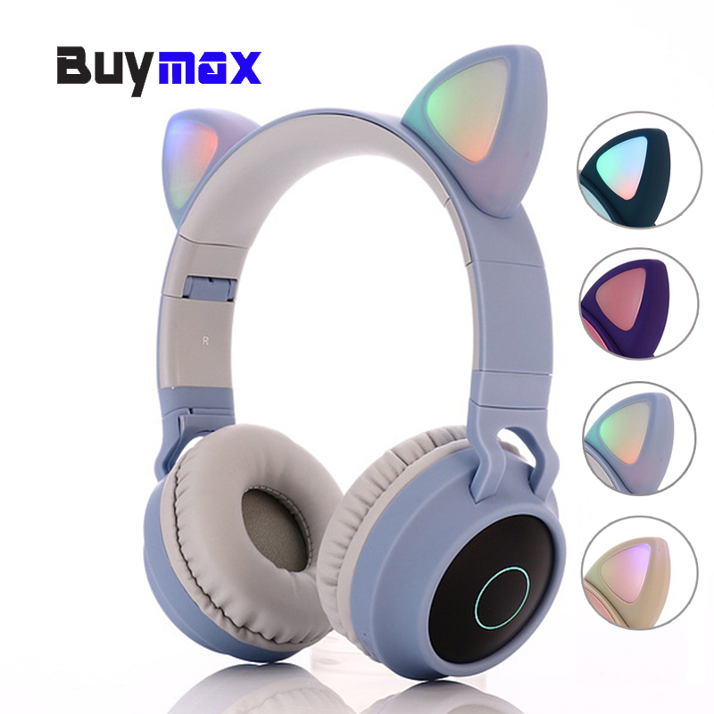 Cute Cat Ear Bluetooth 5 0 Wireless Headphones Kids Headphone Foldable On Ear Stereo Headset With Mic Led Light Fm Radio Tf Card Bluetooth Earphones Headphones Aliexpress