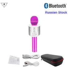 New Arrival in Russian WS858 Bluetooth Wireless Condenser Magic Karaoke Microphone Mobile Phone Player MIC Speaker Record Music