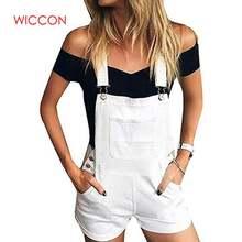 Женский короткий джинсовый комбинезон повседневный Облегающий