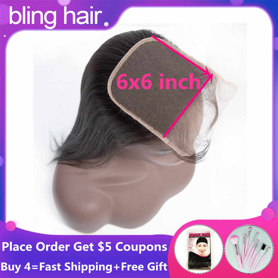 Bling Hair Straight Human Hair 6x6 Lace Closure Free/Middle/Three Part With Baby Hair Remy Peruvian Hair 8-22 Inch Natural Color