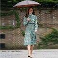 2020 Весна Высокое качество женские ручной росписью банты с цветами кружевное платье, с длинным рукавом, облегающая, эластичность Элегантный ...