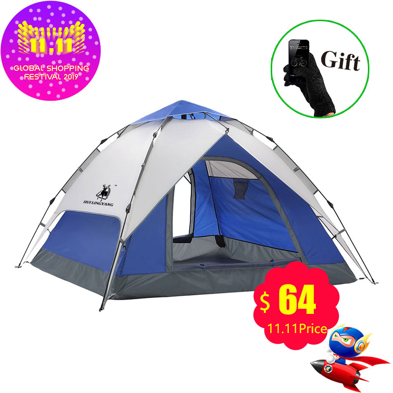 Large 3-4 Men Family Party Tent Awning Camping Festival Waterproof Outdoor Tent