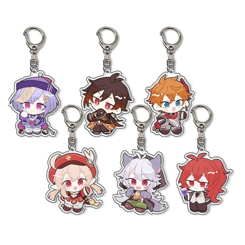Anime Keychain Genshin Impact Venti Paimon Player Diluc Klee Man Key Chain For Womens Cute Bag Pendant Key Ring Gift