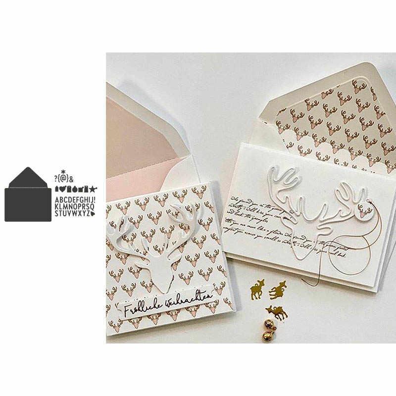 Metalen stansmessen envelop met alfabetten symbool cut scrapbooking kaarten maken papier ambachten mes schimmel stencils nieuwe 2019