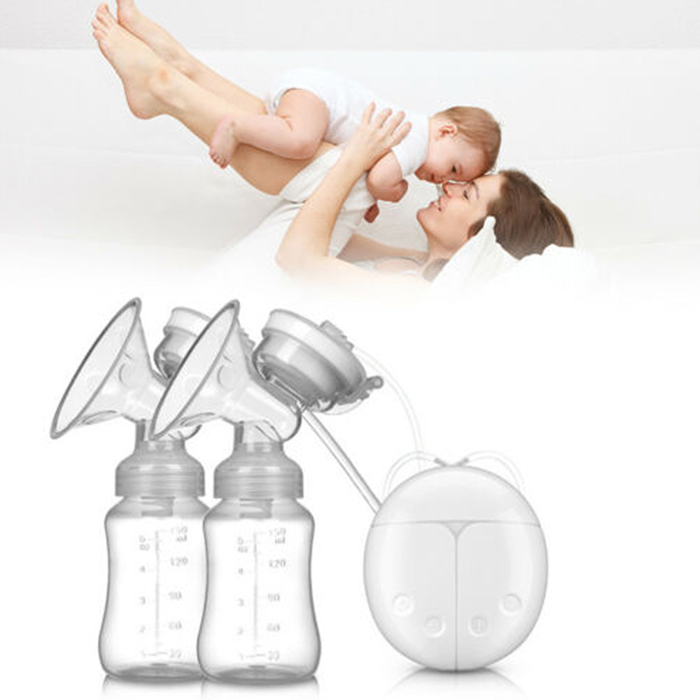 Double Electric Breast Pumps Powerful Nipple Suction USB Electric Breast Pump With Baby Milk Bottle Cold Heat Pad Nippl O29
