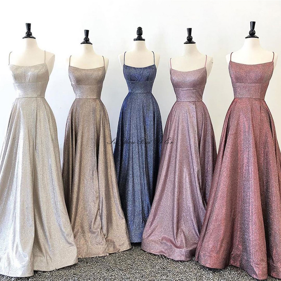 Prom Dresses 2020 Sparkly Party Dresses Gala Shiny A-line Prom Gown Elegant Ceremony Long Dress Gala Youth Spaghetti Straps