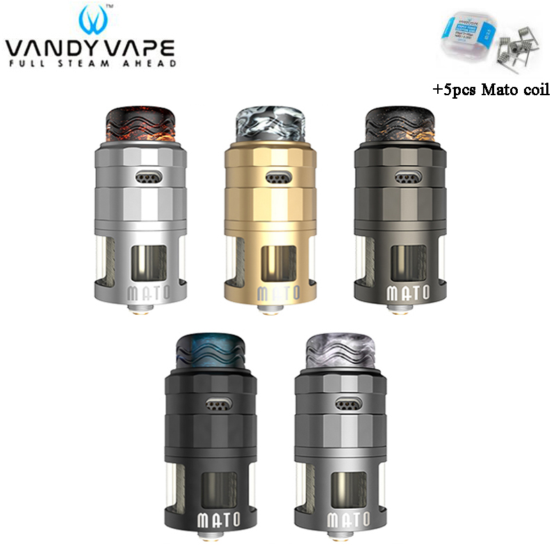 Original Vandy Vape MATO RDTA Tank 5ML VandyVape 4 Steelwire Atomizer Compatible With 510 & Squonk Pin For E-Cig Vape Mod
