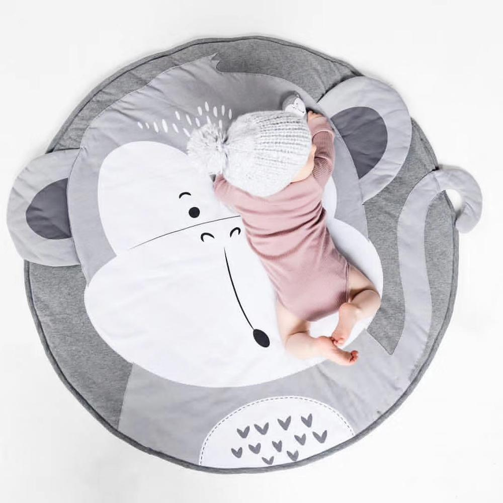 Cartoon Animals Baby Play Mat Foldable Kids Crawling Blanket Pad Round Carpet Rug Toys Cotton Children