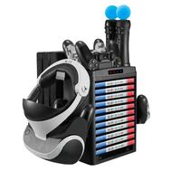 For PS MOVE VR Multifunctional Vertical Charging Display Stand Showcase Game Disc Holder Controller Charger Cooling Fan Cooler