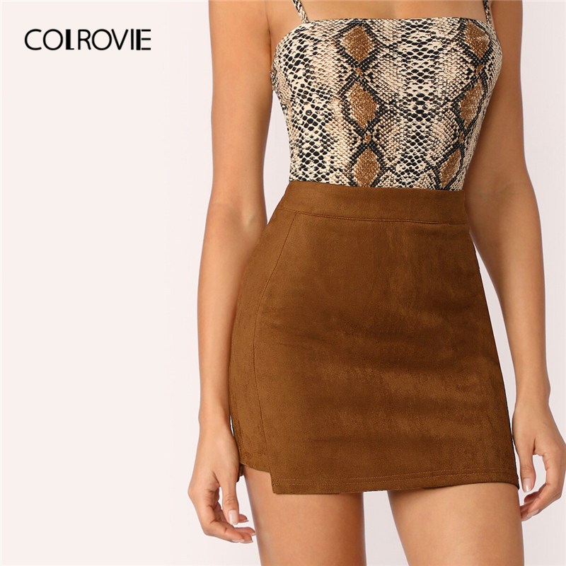 COLROVIE Brown Stepped Side Suede Bodycon Skirt High Waist Mini Elegant Skirt Women 2019 Summer Ladies Solid Sexy Skirts