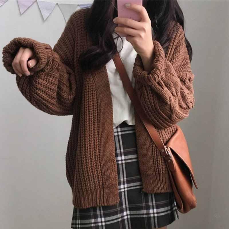 Вязаные свитеры женские 2019 Осень корейский стиль преппи длинный рукав негабаритный кардиган Винтаж Harajuku повседневные свободные топы пальто