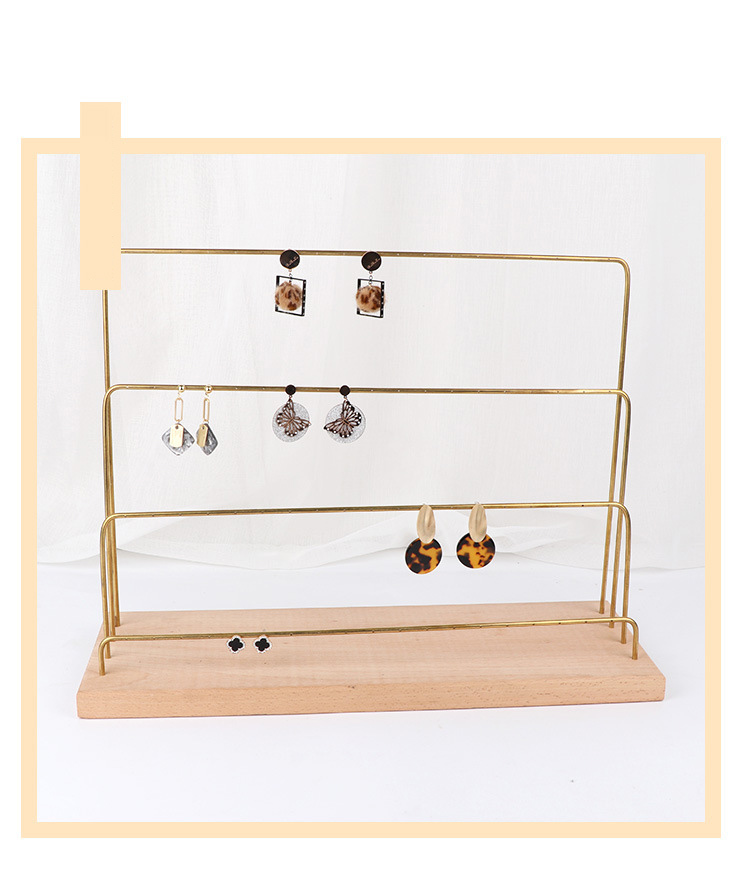 Earrings Storage Jewellery Standing Arrangement Fashion Assembleable Wooden Base Mental Copper Product Jewelry Display