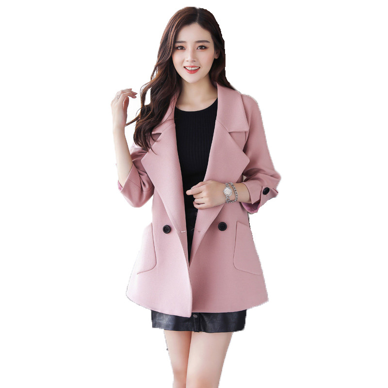 Autumn jacket women M-2XL plus size pink green beige coat 19 new long sleeve lapel fashion short paragraph jacket feminina LR484 25