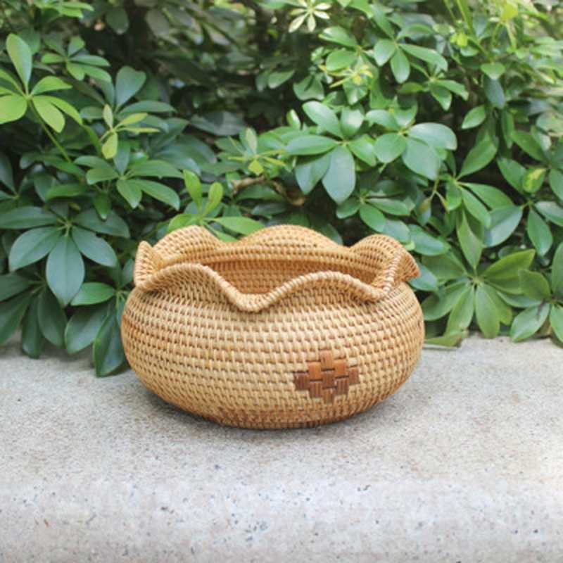 Bamboo Rattan Fruit Basket Home Desktop Creative Portable Storage Basket Kitchen Living Room Picnic Vegetable Basket