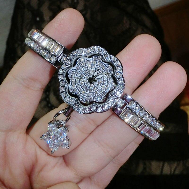 High Quality Fashion Flower Women Watches With Rhinestone Small Luxury Designer Watch Women Quartz Bracelet Watch