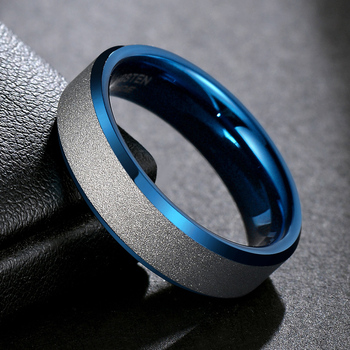 TIGRADE NEW Men Ring Tungsten Carbide Blue with Silver Frosted Ring 6mm For Wedding Engagement Band Unisex Party Rings Size5-12 1