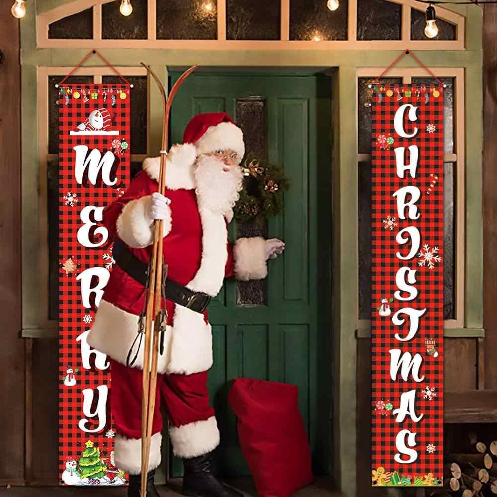 HUIRAN Benvenuto Buon Natale Porta Appeso Banner Di Natale Ornamenti di Natale Decorazioni per la Casa All'aperto di Natale Decorazione di Nuovo Anno Natal