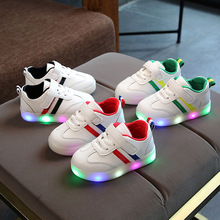 New Children Luminous Shoes Boys Girls Stripe Sport Running