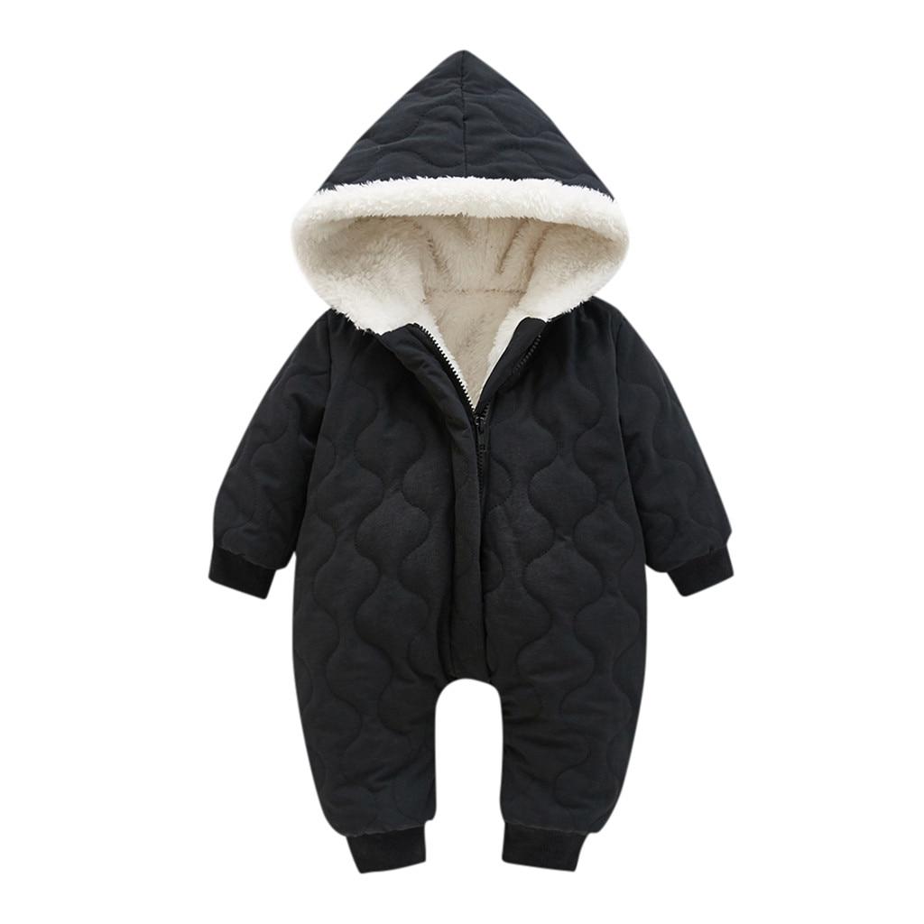 Модный зимний комбинезон для маленьких девочек, детская зимняя куртка толстый зимний комбинезон с капюшоном на молнии, пальто спортивный костюм комбинезоны для новорожденных, Ropa De Invierno - Цвет: Black