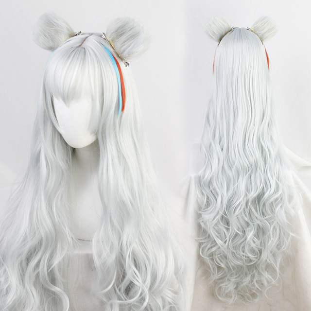 Arknights Poca Nataliya Wavy Long with Ear Cosplay Role Play Heat Resistant Synthetic Hair Carnival Halloween Party + Wig Cap