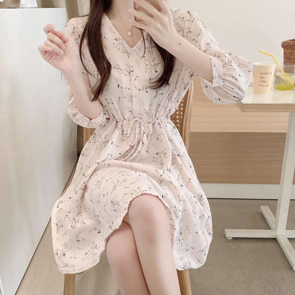 Plus Size v neck New Summer Dress Girls Boho Party Chiffon Female Vintage Dress Print long Sleeve Women Dresses Robe Vestido