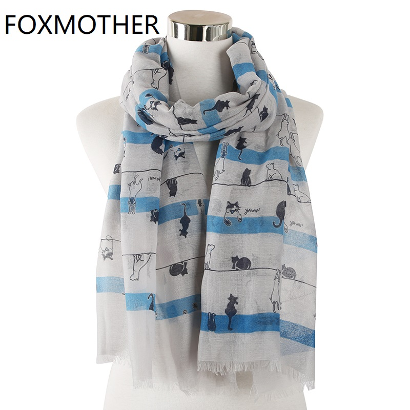 FOXMOTHER New Design Grey White Animal Print Cat   Scarf   for Women Ladies   Scarves     Wraps   Shawl