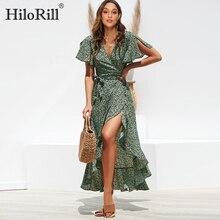 Летнее пляжное макси-платье женское с цветочным принтом богемский длинное шифоновое платье с оборками, повседневное с v-образным вырезом с разрезом, Сексуальные вечерние платья