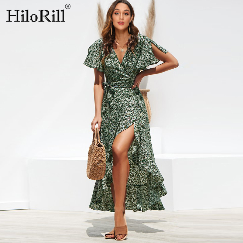 HiloRill Summer Beach Maxi Dress Women Floral Print Boho Long Dress Ruffles Wrap Casual V-Neck Split Sexy Party Dress Robe Femme