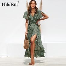 HiloRill Summer Beach Maxi Dress Women Floral Print Boho Long Dress Ruffles Wrap Casual V Neck Split Sexy Party Dress Robe Femme