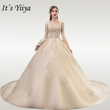 It's YiiYa Wedding Dresses V-neck Beading Tassel Wedding Dress Elegant Half Sleeve Champagne Long Vestido De Novia 2020 TD36