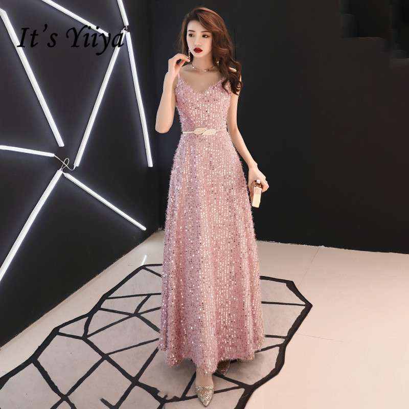 Evening Dress V-neck It's Yiiya AR290 Pink Shining Sequins Evening Dresses For Women Sleeveless Long A Line Robe De Soiree