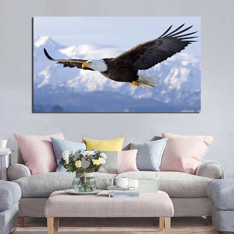 Eagle Fly In The Sky Animal Canvas Posters Prints  Wall Art Painting Oil Decorative Picture Kids Room Home Decoration Framework