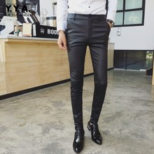 Summer Mens Pu Leather Pants Fashion Korean Skinny Pencil Pants Stretchy Office Work Casual Long Trousers Leather Biker Pants