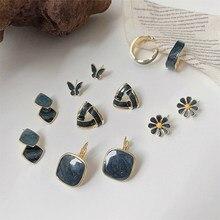 Pendientes de plata de primera ley con forma de mariposa para mujer, aretes, plata esterlina 925, zirconia, circonita, zirconita, color azul oscuro