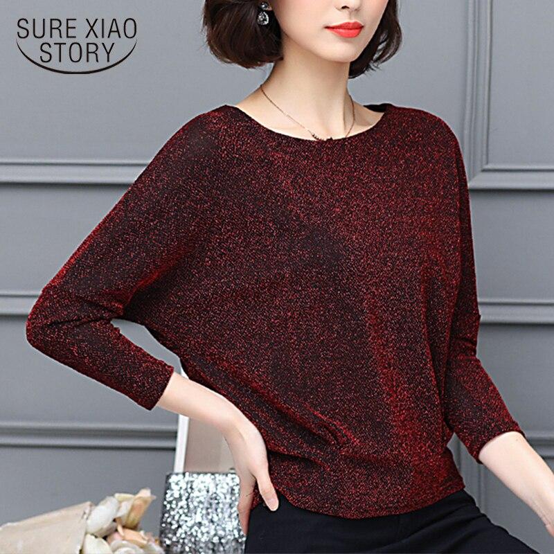 2021 Spring Elegant Shiny Sequin Blouse Tunic Plus Size Women Blouses Fashion Shine Women's Blouses Glitter Shirt Tops 7979 In Many Styles