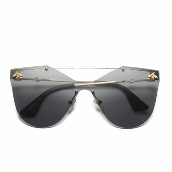 Retro okulary kocie oko połączone okulary przeciwsłoneczne modne wszystkie mecze mała pszczółka okulary przeciwsłoneczne męskie i damskie bezgraniczne oczy słońca tanie i dobre opinie Anti-glare Polaryzacja Anti-Fog Anty-uv Pyłoszczelna Ochrona przed promieniowaniem Women Rimless Adult UV400 Resin