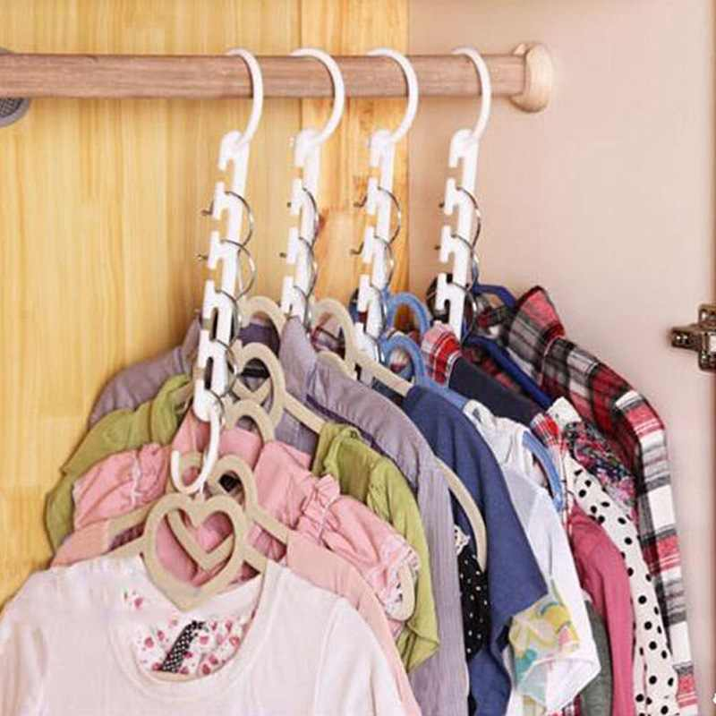 1PCs 5-hole 3D Space Saving Space Hanger Cabide Clothes Hook Windproof Holder Racks Plastic Anti-slip Hangers Hanging Organizer