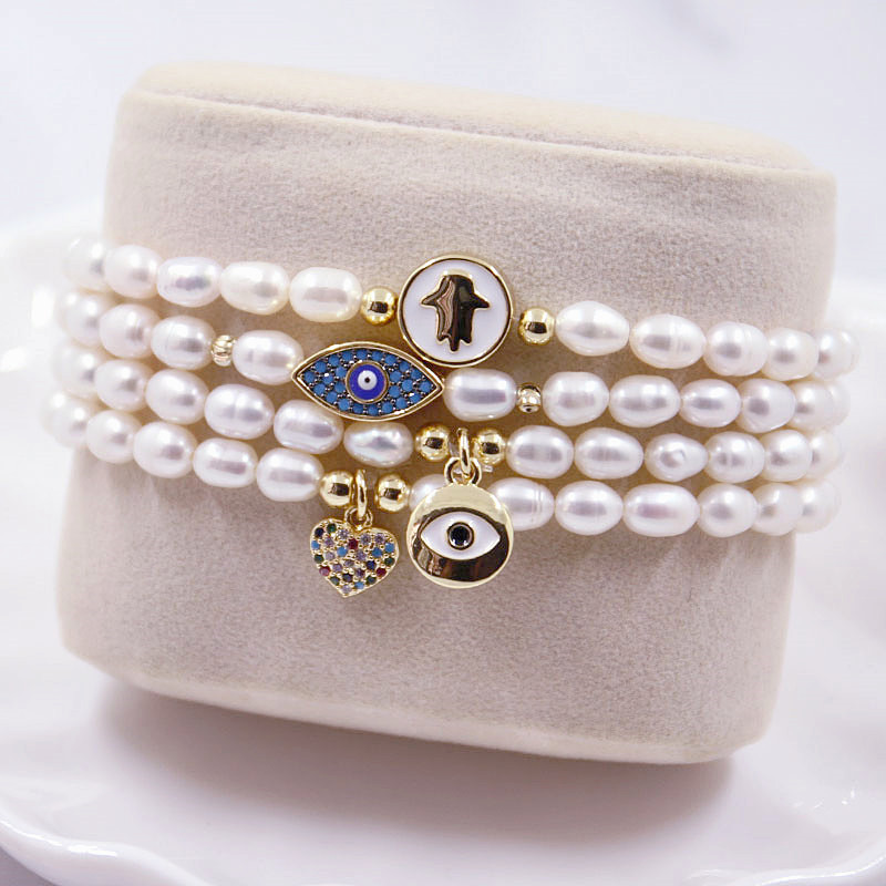 Freshwater Pearls with Colorful Turkish Protection Glass Eyes Necklace and Bracelet Version Available