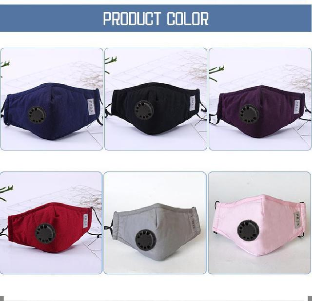 Washable Pm2.5 Face Mask Anti-fog Filter Reusable Mask With Breathing Valve Activated Filter Respirator Mouth Mask 5