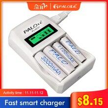 Умное зарядное устройство PALO с 4 мя слотами и ЖК дисплеем, быстрое зарядное устройство AA AAA с 1,2 в AA AAA NiCd NiMh аккумуляторными батареями