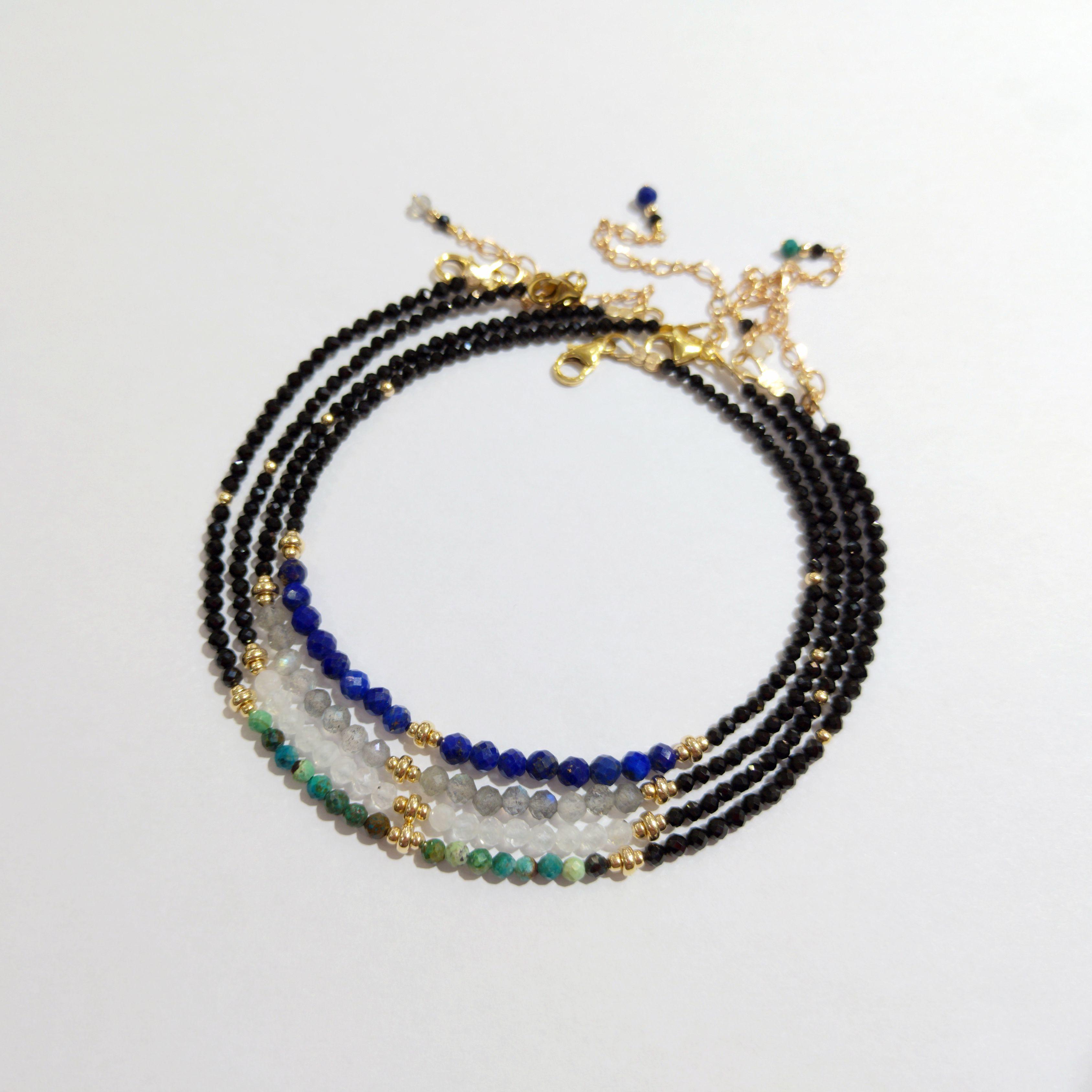 Lii Ji Anklet Natural Stone Black Spinel Lapis Lazuli Moonstone Labradorite Chrysocolla US 9K GF Anklet 23cm with extra link