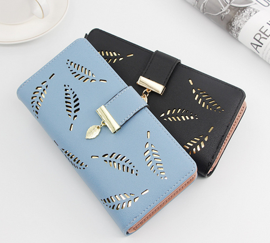 Ladies Leather Wallet Fashion Brand Designer Card Holder Coin Women Wallet Leaf Hollow Clutch Short Women Wallet