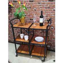 Multi-function Cart Iron And Wood Foldable Storage Shelf Industrial Style Food Sundries Organizer Home Kitchen Cart With Wheel