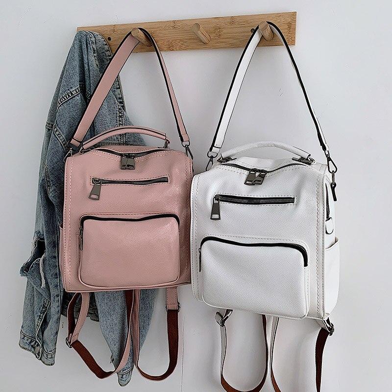 Women Leather Backpack Female Teenage Girls School Backpacks Vintage Large Multifunction Mochila Solid Shoulder Bag Black XA528H in Backpacks from Luggage Bags