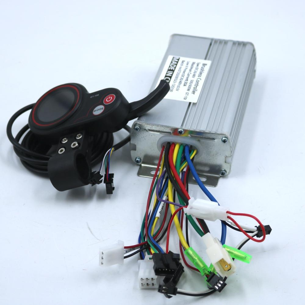 GREENTIME 24 فولت/36 فولت/48 فولت/60 فولت 500/600 واط BLDC وحدة تحكم المحرك E-الدراجة فرش سرعة سائق و GT-100 شاشة الكريستال السائل مجموعة واحدة